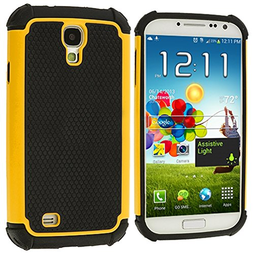 """Mylife (Tm) Black And Yellow - Classic Rugged Design (2 Piece Hybrid Bumper) Hard And Soft Case For The Samsung Galaxy S4 """"Fits Models: I9500, I9505, Sph-L720, Galaxy S Iv, Sgh-I337, Sch-I545, Sgh-M919, Sch-R970 And Galaxy S4 Lte-A Touch Phone"""" (Fitted Ba"""