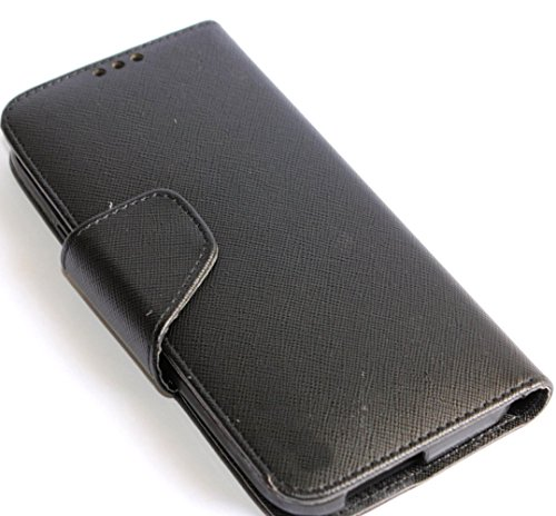 Mylife (Tm) Jet Black {Modern Design} Faux Leather (Card, Cash And Id Holder + Magnetic Closing) Slim Wallet For The All-New Htc One M8 Android Smartphone - Aka, 2Nd Gen Htc One (External Textured Synthetic Leather With Magnetic Clip + Internal Secure Sna