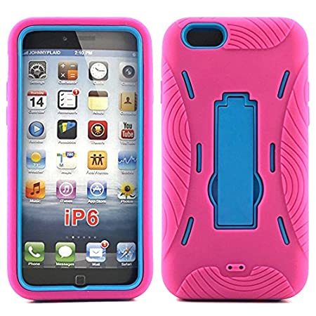 iPhone 6 Case, HLCT Rugged Heavy Duty Shockproof iPhone 6 Protective Case PC Dual Layer Armor Rubber Cover Case for Apple iPhone 6 4.7 Inch (Pink/Cyan)