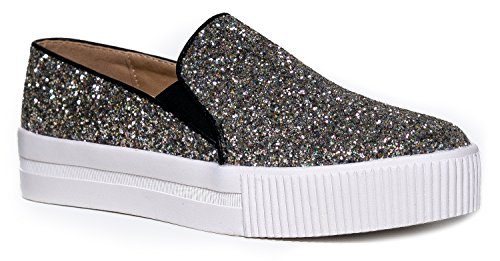 Women's Platform Slip On Flat Sneaker - Elastic Pull on Low Casual Fashion Vegan Leather glitter Shoe