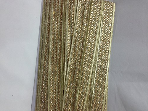 Inhika 9.8yd border trim, 3 row of golden stones on golden base