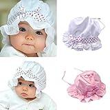 Baby Hat Sunbonnet Lace Flower Sun Hat Princess Hat Satin Cap
