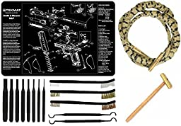 Otis Ripcord Rip Cord .40 Bore Cleaner + Ultimate Arms Gear Gun Mat S&W Smith & Wesson M&P + 8pc Pin Punch Tool + Brass Hammer + 3 Brushes & 2 Picks