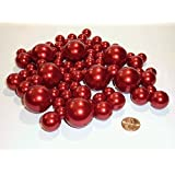 80 Jumbo and Assorted Sizes ALL RED PEARLS Vase Fillers Value Pack....