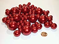 80 Jumbo and Assorted Sizes ALL RED PEARLS Vase Fillers Value Pack….