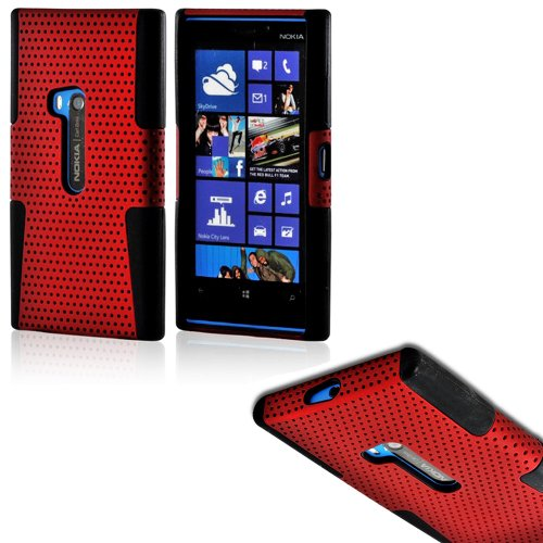 Mylife (Tm) Crimson Red And Dark Black Perforated Mesh Series (2 Layer Neo Hybrid) Slim Armor Case For The Nokia Lumia 920, 920.2, 920T And 920 4G Camera Smartphone By Microsoft (External Rubberized Hard Shell Mesh Piece + Internal Soft Silicone Flexible