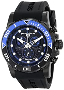 """Swiss Legend Men's 21368-BB-01-BLAB """"Avalanche"""" Stainless Steel Watch with Black Silicone Band"""