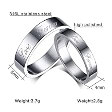 buy Cheo Rish Simple Stainless Steel Couples Rings
