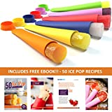 Sunsella Mighty Pops - 6 Premium Quality Silicone Popsicle Molds, BPA Free, Ice Pop Molds - 100% Money-back Lifetime Guarantee! - FREE 50 Ice Pop Recipes Ebook - Food Storage, Jello Freezer Pop Molds - Make Your Own Healthy, Tasty & Refreshing Homemade Ice Lolly Treats - Assorted Fun Colors, Durable, Easy to Wash, Quick-Freeze Design, No Mess, Dishwasher Safe, Meets FDA Standards