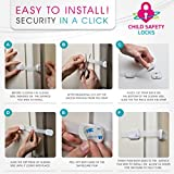Getrend-Adjustable-Child-Safety-Locks-Adorable-Baby-Proof-Latches-For-Cabinets-Refrigerator-Oven-Door-Drawers-Fridge-Toilet-Seat-No-Drilling-Spare-3M-Adhesive-SURPRISE-BONUS-6-Pack-White