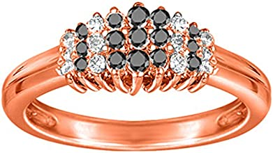 10k Gold Classic Cluster Wedding Anniversary Band with Black And White Diamonds 099 ct twt