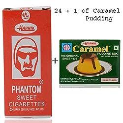 Harnik Phantom Sweet Cigarette Candy (Pack of 24) +1 Pkt Caramel Pudding Mix