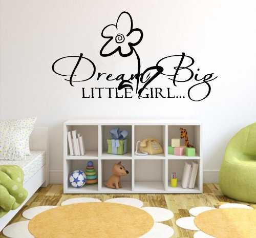 Dream Big Little Girl.. Vinyl Wall Quotes Stickers Sayings Home Art front-487020