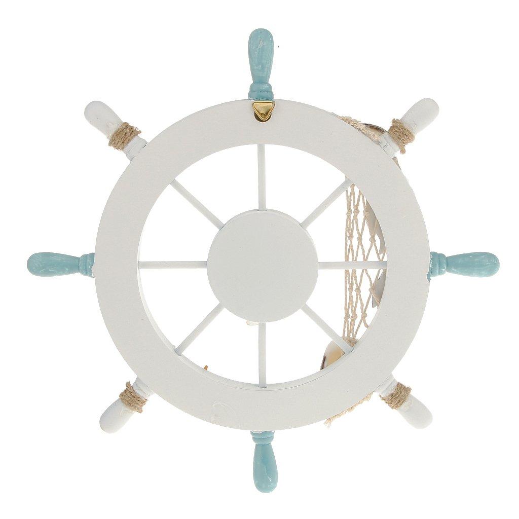 Nautical ship wall decor : Nautical beach wooden boat ship steering wheel fishing net