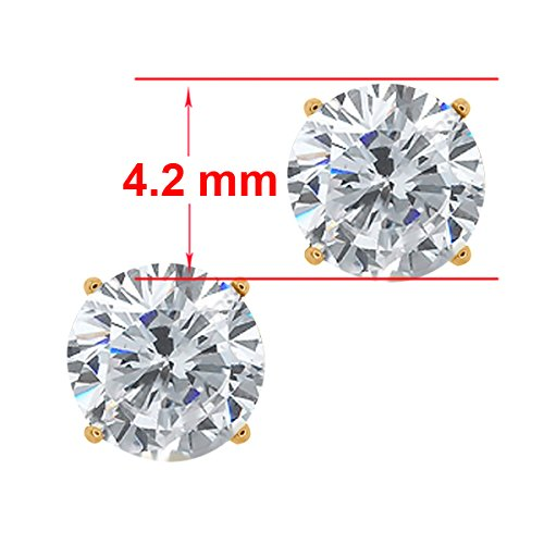 0.60 Ct Round G/H SI1 Diamond 18K Yellow Gold Stud Earrings