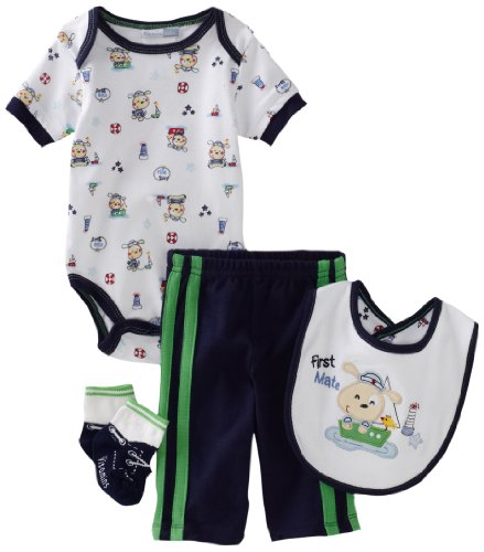 Vitamins Baby-Boys Newborn First Mate 4 Piece Creeper Pant Set, Blue, 6 Months