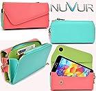 Peach / Teal Universal Wallet Case May Fit Motorola DROID 2 Global NuVur ™ |ESMLUBRG|