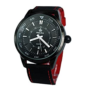 Orkina Black & Red Theme Large Dial Nylon Two Tone Colors Fabric Strap Wrist Watch