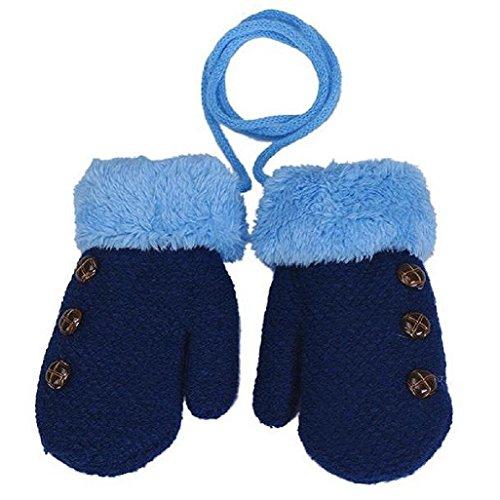 Auxma Warm GlovesKids Baby Boys Girls Toddler Knitted Gloves Leaf Gloves (Blue)