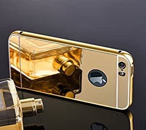 Archpro Premium Metal Bumper Acrylic Mirror Back Cover Case For Apple iPhone 5-5s (Gold Color)