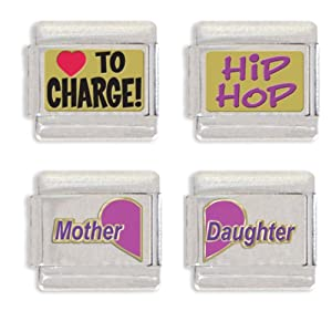 Heart To Charge, Hip Hop, Mother Heart and Daughter Heart Italian Charm Link Set
