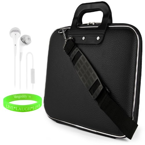 Cady Messenger Cube - Jet Black Ultra Durable Tactical Leather -Ette Bag Case Fits Apple Macbook Pro 13' Retina Display / Air 13' Inch Laptop + White Hands-Free Earphone Headphones With Microphone