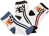 Sweet & Soft Baby Boys Football Fun Crew Socks- 3 Pair 0-6M Multi