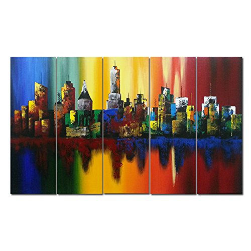 Wieco Art - Summer in the City Huge Modern Abstract Cityscape 100% Hand Painted Contemporary Gallery Wrapped Oil Paintings on Canvas Wall Art Work Ready to Hang for Office Decorations XL 5pcs/set
