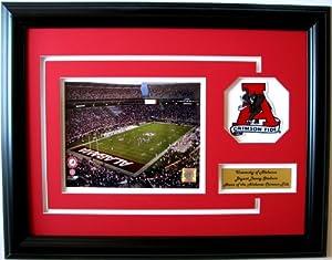 NCAA Alabama Crimson Tide Bryant-Denny Stadium Framed Landscape Photo with Team Patch... by CGI Sports Memories