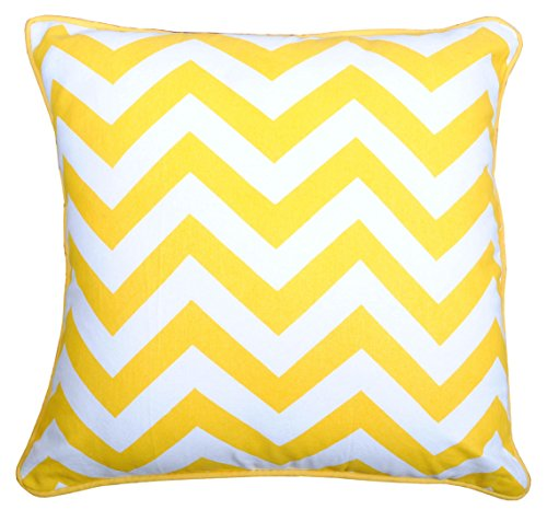 Yellow Throw Pillow Cover (1 Pc) for Sofa Couch 16 X 16 Inches Chevron Design Printed in Bright Yellow on White 100% Cotton Fabric Soft Decorative Cushion Cover Collections by Value Homezz
