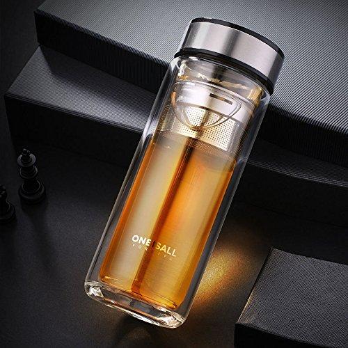 Double Wall Glass Water Bottle Glass Bottle w/Stainless Steel Tea Infuser 300ml