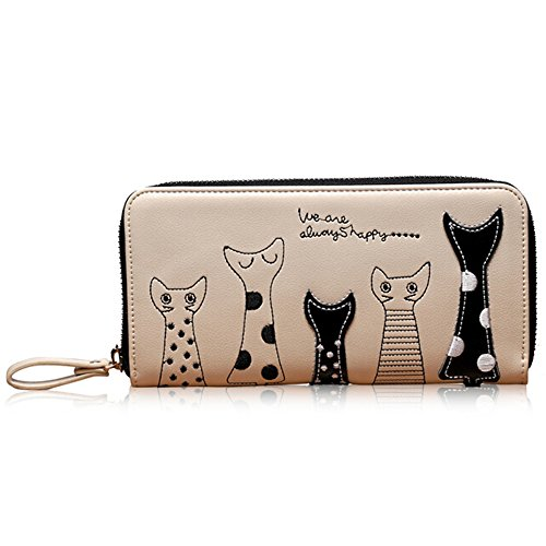 猫 長財布 レディース 開運財布 新年のプレゼント 高級な皮革材質 猫好きの友達のプレゼント お勧めです(ホワイト)