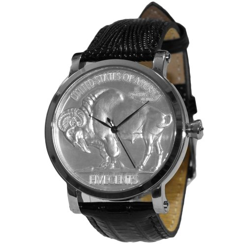 Croton CN307404COSS Swiss US Buffalo Head Coin Mens Silver-Tone Watch Black Leather Band