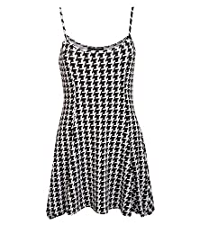 Pilot Bella Strappy Dog Tooth Print Swing Dress in Black