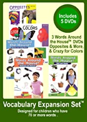 Level 3 - Vocabulary Expansion Set - Appropriate for Kids w/ 75+ words Not Yet Speaking in Sentences - 5 DVDs