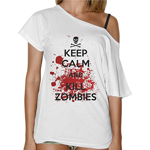 T-Shirt Donna Collo Barca Keep Calm And Kill Zombies The Walking Dead - Bianco