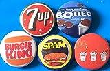 缶バッジ 7UP:バーガーキング:スパム・マクドナルド・オレオ