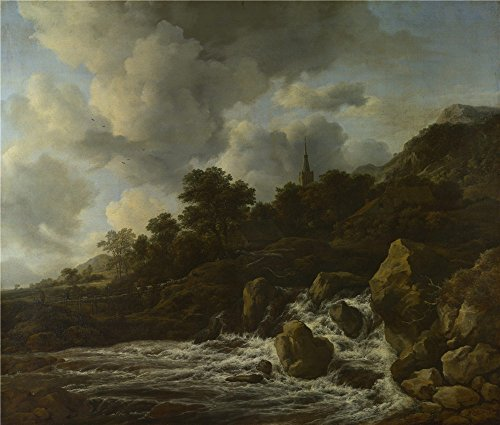 The Polyster Canvas Of Oil Painting 'Jacob Van Ruisdael A Waterfall At The Foot Of A Hill Near A Village ' ,size: 20 X 24 Inch / 51 X 60 Cm ,this High Definition Art Decorative Prints On Canvas Is Fit For Kitchen Decor And Home Gallery Art And Gifts (Low Profile Bedside Lamp compare prices)