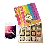 Luscious Treat Of White Truffles Box With Birthday Mug - Chocholik Belgium Chocolates
