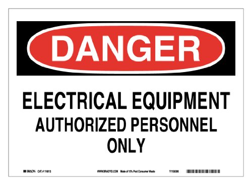 "Brady 116013 14"" Width x 10"" Height B-586 Paper, Red And Black On White Color Sustainable Safety Sign, Legend ""Danger Electrical Equipment Authorized Personnel Only"""