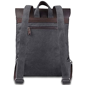Jack&Chris Vintage Canvas Leather School Backpack Rucksack Bag Daypack,MC2166
