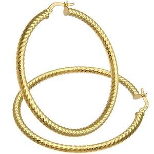 Forever Lite 9ct Yellow Gold Diamond Cut 40mm Hoop Earrings
