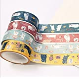 ONOR-Tech Set of 4 Roll Lovely Cute Japanese Washi Masking Tape Decorative Tape for Diary, Journal, Planner (style-14)