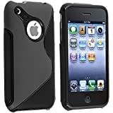 eForCity TPU Rubber Skin Case compatible with Apple® iPhone® 3G / 3GS, Black S Shape