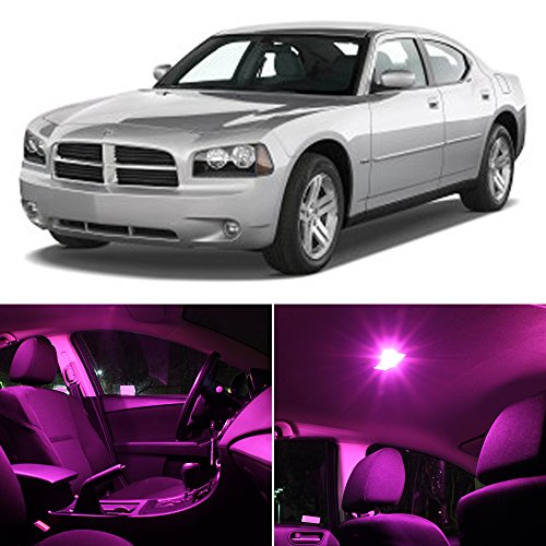 Dodge Charger 2006-2010 Pink Premium Led Interior Lights Package Kit (5 Pieces)