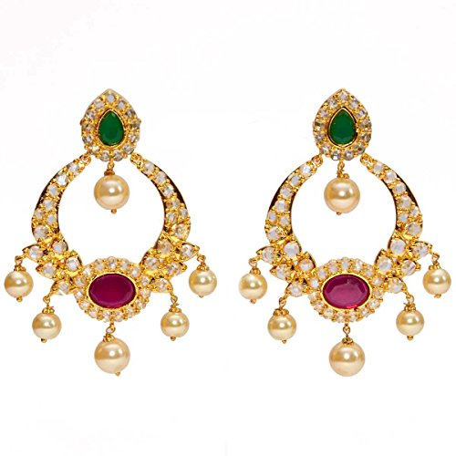 Anvi's uncut stone chand baali with emerald and ruby (multicolor)