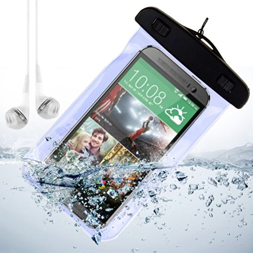 Blue Waterproof Pouch Dry Bag Case For Htc One M8 / Htc One M7 / Htc One Mini And Other Htc Smartphone + Vangoddy Headphone With Mic , White