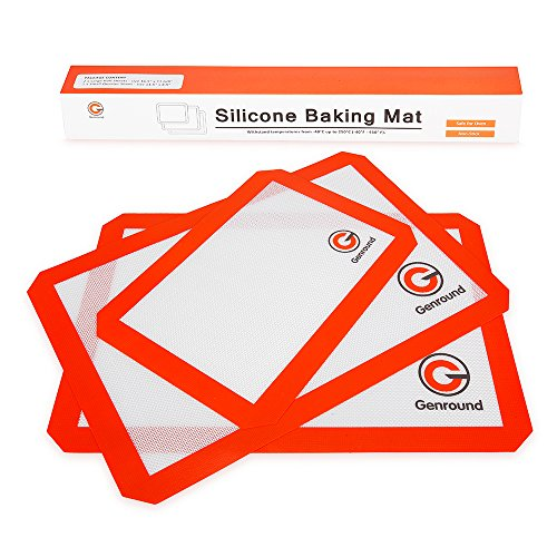 Silicone Baking Mats (Set of 3) - 2 x Large Half Sheet, 1 x Small Quarter Sheet - Non Stick Heat Resistant Liners for Cookie Sheets