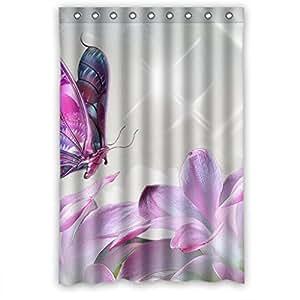 Purple Butterfly Flower Custom Style Bathroom Fabric Shower Curtain 48 W X72 H