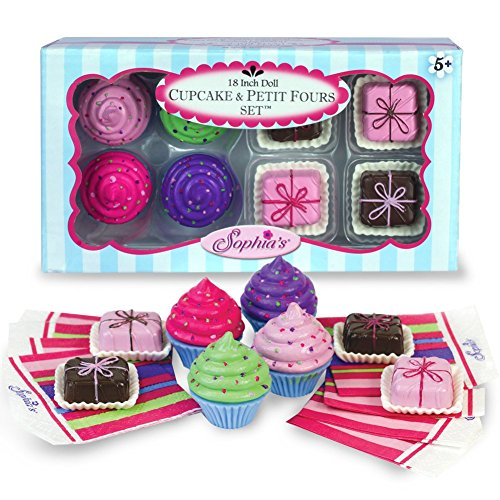 18 Inch American Doll Pretend Play 8 Pc. Food Set of Cupcakes, Petit Fours, & Paper Napkins, For Total 16 Pcs, Perfect for American Girl Mini Doll Food, for Doll Tea Party's & More! by Sophia's (American Girl Food compare prices)
